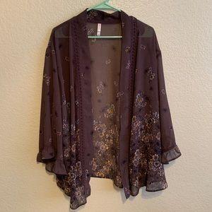 Kimono style floral ruffle oversized cardigan